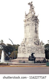 The Monument to the Carta Magna and Four Regions of Argentina in the Palermo neighbourhood of Buenos  Aires, Argentina. Monument of the Spanish called Monumento de los Espanoles.