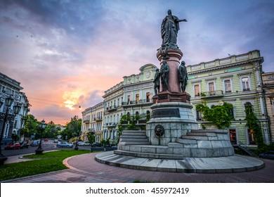 The monument to Catherine 2 in Odessa, Ukraine, Europe.