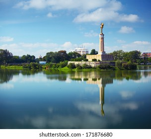 Monument in the center of lake Anosy in the city of Antananarivo. Madagascar
