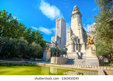 Monument to Cervantes on Plaza de Espana with sculptures of Don Quixote and Sancho Panza. Madrid, Spain