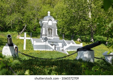 Monument Chapel, built in honor of the successful defense of Petropavlovsk from attack of Anglo-French squadron in 1854. Historical monument federal level object of cultural heritage established 1912