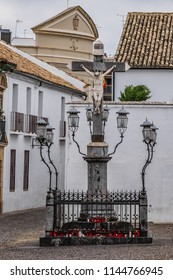 Monument Christ of the Lanterns (The Cristo de los Faroes) in Capuchinos Square (Plaza de Capuchinos) in Cordoba, Andalucia, Spain.