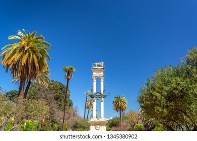 Monument to Christopher Columbus in the Gardens of Murillo in Seville, Spain