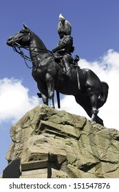 The monument to commemorate the Royal Scots Greys who fought in the second Boer War in South Africa in 1899. The statue is in Princes Street Gardens, Edinburgh. The sculptor was Birnie Rhind.