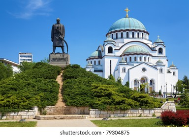 Monument commemorating Karageorge Petrovitch in front of Cathedral of Saint Sava in Belgrade, Serbia