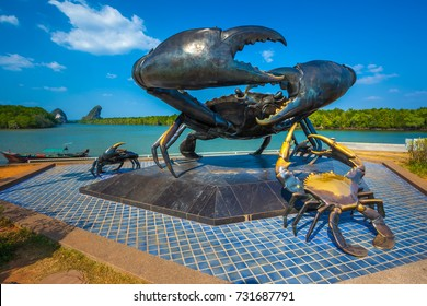 Monument to a crab, AO Nang, Krabi, Thailand - Februrary 2012 - The monument is located on the bank of the river, in the center of Krabi town.