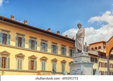 Monument to Dante Alighieri (Monumento a Dante Alighieri) on Holy Cross Square (Piazza di Santa Croce) in  Florence. Italy.