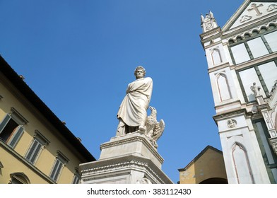 The monument of Dante Alighieri on Piazza Santa Croce, Florence, Italy.