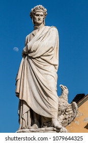 the monument to Dante created by Enrico Pazzi, at the conclusion of the Dante celebrations of 1865 for the 6th centenary of the birth of the great poet. Florence, Italy