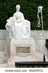 Monument for Empress Elisabeth and fountain before it in the city park in Vienna, Austria