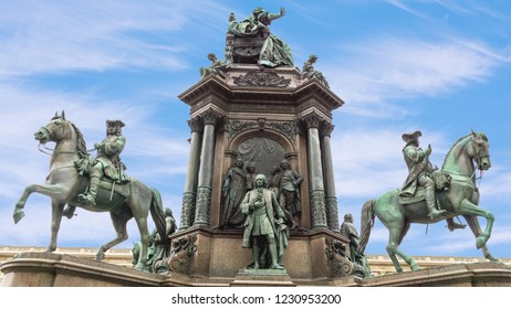 A monument of Empress Maria Theresa, the 18th Century female Habsburg ruler,  located at the Maria-Theresien-Platz, a public square in central Vienna.