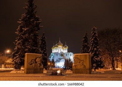 Monument to fallen soldiers in World War II against the background of the Assumption Cathedral in Yaroslavl