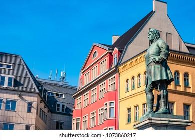 Monument of famous German composer George Frideric Handel in Halle (Saale) Marktplatz, Germany, blue sky, sunset