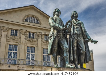 Monument of the famous german writers Goethe and Schiller in Weimar, Germany