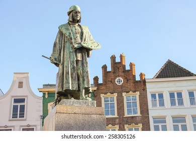 Monument of famous painter Hieronymus Bosch in s-Hertogenbosch. Netherlands