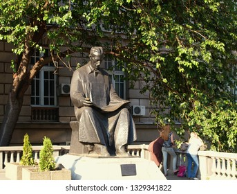 Monument to the famous Serbian scientist Nikola Tesla in front of the Technical Engineering University in Belgrade, Serbia.