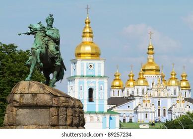 Monument of famous Ukrainian Hetman Bogdan Khmelnitsky in front of St. Michael's Golden-Domed Monastery in Kiev, Ukraine