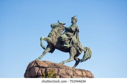 Monument to the famous Ukrainian Hetman Bohdan Khmelnytskyi on Sofia square, Kyiv, Ukraine. Symbol of the capital of Ukraine.