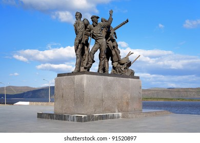 Monument to first builders of the city Komsomolsk-on-Amur on the embankment of Amur River, Far East, Russia
