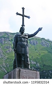 Monument of the first King of the Asturias Kingdom, Don Pelayo. In Covadonga, Asturias, north of Spain.