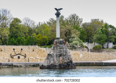 monument to the flooded ships in Sevastopol, the architectural symbol of the city, is set near the Primorsky Boulevard near Nakhimov Square. Crimea, Ukraine. May 2009