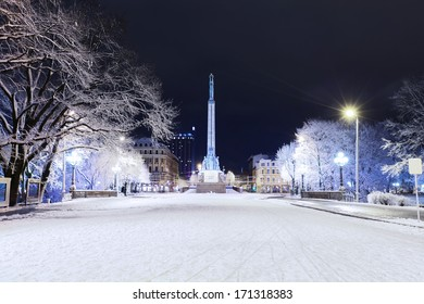 Monument of Freedom in center of Riga, Latvia at winter night