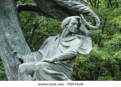 Monument to Fryderyk Chopin, famous Polish composer, in Watsaw Royal Baths Park, the best-known Polish sculpture in the world by Waclaw Szymanowski, close up, Warsaw, Poland, 2016 July 27