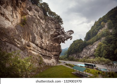 Monument George the Victorious jumps out of the cliff, North Ossetia, Russia