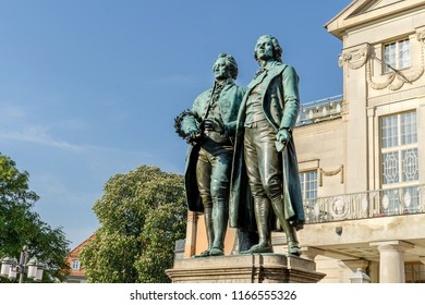 Monument to Goethe and Schiller before the national theater in Weimar