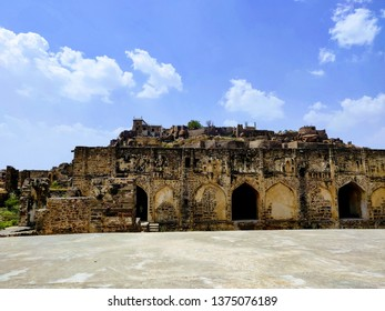A monument from Golconda fort in Hyderabad, showing it's strong architecture hold. You need a light source to go around inside the monument as sun light can't reach inside the monument.