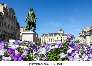 Monument of Guy Julius Caesar, Place Saint-Sauveur Caen. Urban scene, city life.