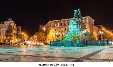 Monument to hetman of Ukraine Bogdan Khmelnitsky and Saint Sophia Cathedral on Sofia square in Kiev at night. Capital of Ukraine - Kyiv city.