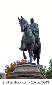 Monument of horseman Wilhelm I, Kaiser of the German Empire, located in Stuttgart
