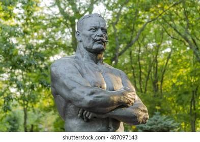 Monument to Ivan Poddubny in the city of Yeisk, Krasnodar region, Russia, August 15, 2016