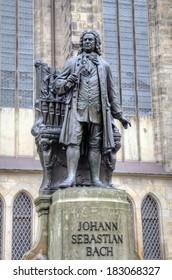Monument for Johann Sebastian Bach in front of the Thomas Church (Thomaskirche). Leipzig, Germany