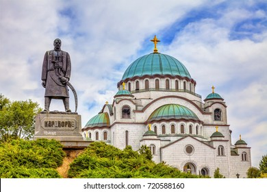 Monument to Karadjordje Petrovic and the Great Temple of St. Sava. HDR image