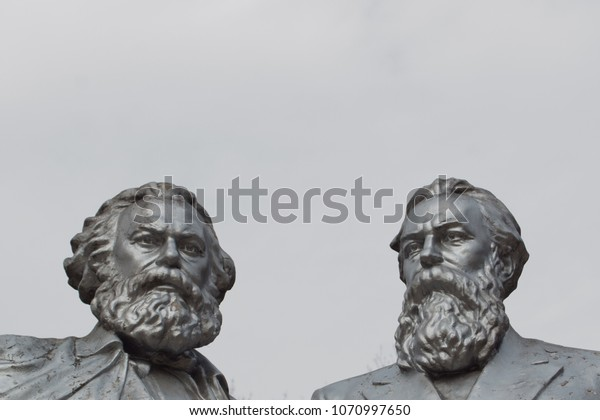 a monument of Karl Marx and Friedrich Engels