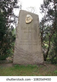 The monument of Karl Marx; Germany, 17268 Templin,Citizen garden,04-24-2018