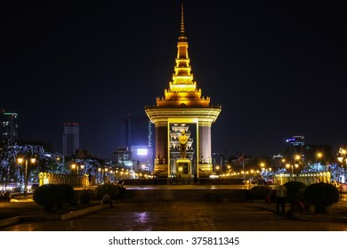 The monument of King Norodom Sihanoukin in the night which is located on central of Phnom Penh, Cambodia.