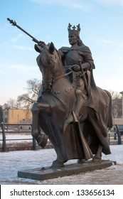A monument to King on horseback. Poland. Malbork. Middle Ages.