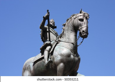 Monument of king Philip III of Spain at Plaza Mayor (Main Square) in Madrid, Spain