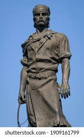 Monument to Lacador, Porto Alegre, Rio Grande do Sul State, Brazil on August 11, 2008. The statue represents the gaucho with typical costumes and a bow in his hand, a cultural symbol of the state.