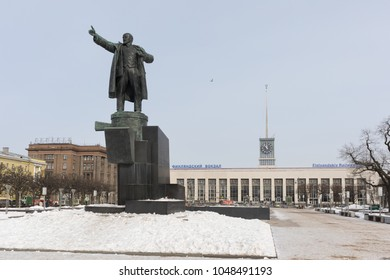 Monument to Lenin, Vladimir Ilyich against the background of the Finland Train Station and the metro station Ploshchad Lenina .Russia, St. Petersburg, Lenin Square, March 8, 2018. EDITORIAL