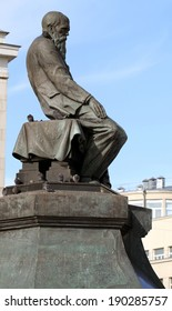 monument of Leo Tolstoy in Moscow near Metro Lenin Library