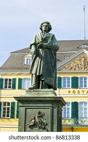 Monument of Ludwig van Beethoven on background of post building in the center of Bonn, Germany