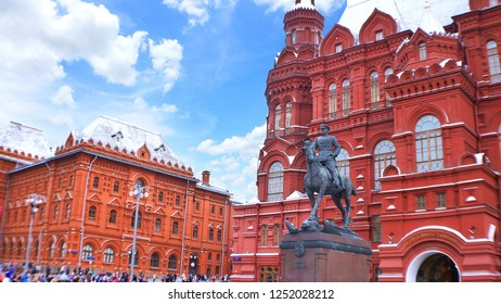 Monument of Marchal Zhukov with State Historical Museum in the background, Red Square, Moscow, Russia