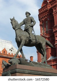 The monument to marshal Zhukov, is near a historical museum. Red Square, Moscow