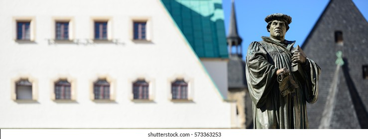 Monument of Martin Luther on the Town Square of Eisleben, Germany, the town of his birth and death Monument created 1883 by Rudolf Siemering (1835 - 1905) - NO PR required