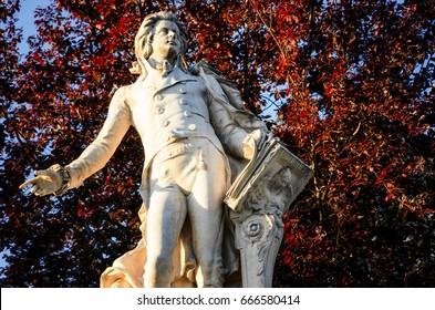 Monument in memory of Wolfang Amadeus Mozart in Burggarten, public park of Vienna (Austria)