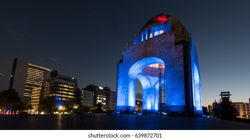 Monument to the Mexican Revolution (Monumento a la Revolución) located in Republic Square, Mexico City at night